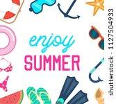 set of fun summer holidays... | Shutterstock .eps vector #1127504933