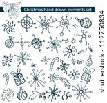 Christmas hand drawn elements collection for your design, vector - stock vector