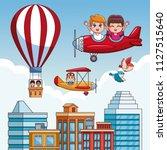 kids flying cartoons | Shutterstock .eps vector #1127515640