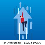 businessman flying up with... | Shutterstock .eps vector #1127519309