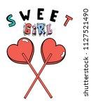 slogan  sweet girl illustration ...   Shutterstock .eps vector #1127521490
