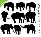 elephant silhouettes vector | Shutterstock .eps vector #112752160