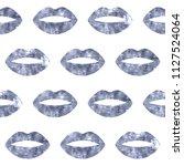 silver woman lips seamless... | Shutterstock . vector #1127524064