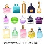perfume bottles icons set... | Shutterstock . vector #1127524070