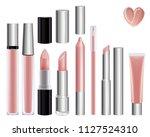 make up set for lips. lipstick... | Shutterstock . vector #1127524310