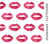 red woman lips seamless pattern.... | Shutterstock . vector #1127524340
