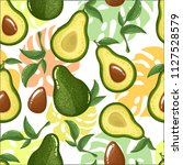 seamless avocado pattern ... | Shutterstock .eps vector #1127528579
