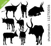 bull silhouettes vector | Shutterstock .eps vector #112753036