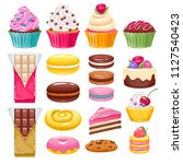 set of bakery sweets on white... | Shutterstock . vector #1127540423