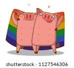 gay couple standing and holding ... | Shutterstock .eps vector #1127546306