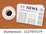 morning world news with cup... | Shutterstock .eps vector #1127547179