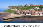 whitby abbey and harbour from... | Shutterstock . vector #1127547410