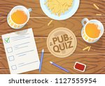 quiz night in the pub. wooden... | Shutterstock .eps vector #1127555954