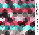 hexagon grid seamless vector... | Shutterstock .eps vector #1127560076
