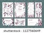 floral vintage cards set for... | Shutterstock .eps vector #1127560649