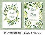 wedding invitation frames with... | Shutterstock .eps vector #1127575730