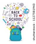 back to school. open school... | Shutterstock .eps vector #1127581943