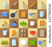 kitchenware tools cook icons...   Shutterstock .eps vector #1127582036