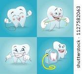 floss dental brushing detailed... | Shutterstock .eps vector #1127582063