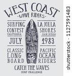 california wave rider longboard ... | Shutterstock .eps vector #1127591483