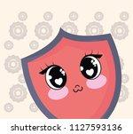 kawaii shield icon | Shutterstock .eps vector #1127593136