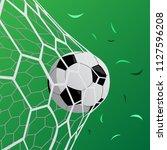 goal  football in the net ... | Shutterstock .eps vector #1127596208