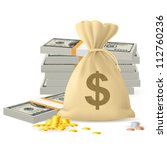 piles of money in the form of... | Shutterstock .eps vector #112760236