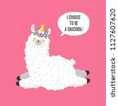 cute cartoon lama  doodle... | Shutterstock .eps vector #1127607620