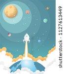 rocket flying over the earth... | Shutterstock .eps vector #1127613449