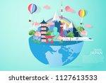 paper art made paper craft info ... | Shutterstock .eps vector #1127613533