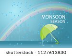 happy monsoon season paper art... | Shutterstock .eps vector #1127613830
