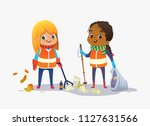 two girls wearing unoform... | Shutterstock .eps vector #1127631566