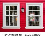 white windows with lamp on a... | Shutterstock . vector #112763809