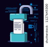 data security technology with... | Shutterstock .eps vector #1127645300