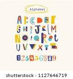 positive colorful alphabet for... | Shutterstock .eps vector #1127646719