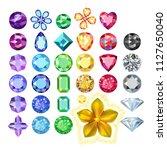 set of colored gems  golden... | Shutterstock .eps vector #1127650040