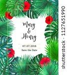 tropical wedding invitation... | Shutterstock . vector #1127651990