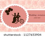 invitation card with the bride... | Shutterstock .eps vector #1127653904