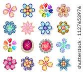 gemstones jewelry brooch flower ... | Shutterstock .eps vector #1127653976