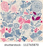 floral pattern with birds.... | Shutterstock .eps vector #112765870