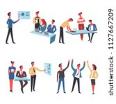 office team at work vector icons | Shutterstock .eps vector #1127667209