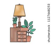drawer with houseplants and lamp   Shutterstock .eps vector #1127668253