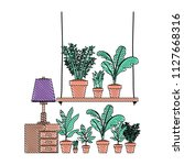 drawer with houseplants and lamp   Shutterstock .eps vector #1127668316