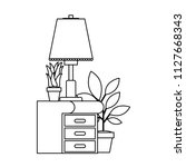 drawer with houseplants and lamp   Shutterstock .eps vector #1127668343