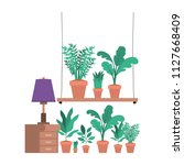drawer with houseplants and lamp   Shutterstock .eps vector #1127668409