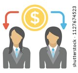 two businesswomen with dollar... | Shutterstock .eps vector #1127674523
