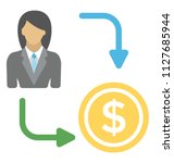 a businesswoman with dollar... | Shutterstock .eps vector #1127685944