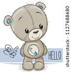 cute cartoon teddy bear on a... | Shutterstock .eps vector #1127688680