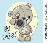 cute cartoon teddy bear with a... | Shutterstock .eps vector #1127688683