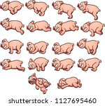 cartoon pig sprites with... | Shutterstock .eps vector #1127695460